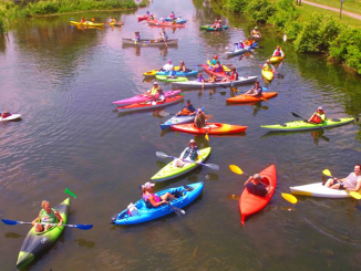 """Last year's """"Boat Float"""" photographed by a drone. More than 300 boats are already registered to participate this year. Courtesy of Derrick Pratt, Chittenango Landing Canal Boat Museum."""