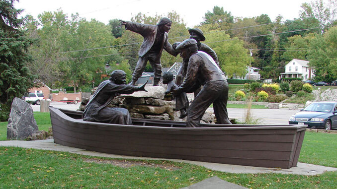 Near the banks of the Niagara River is the Freedom Crossing Monument, which honors fugitive slaves who sought freedom in Canada and the local volunteers who aided them.